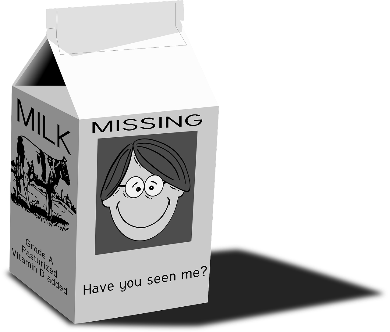Retrieved from: https://pixabay.com/en/milk-carton-milk-missing-31473/